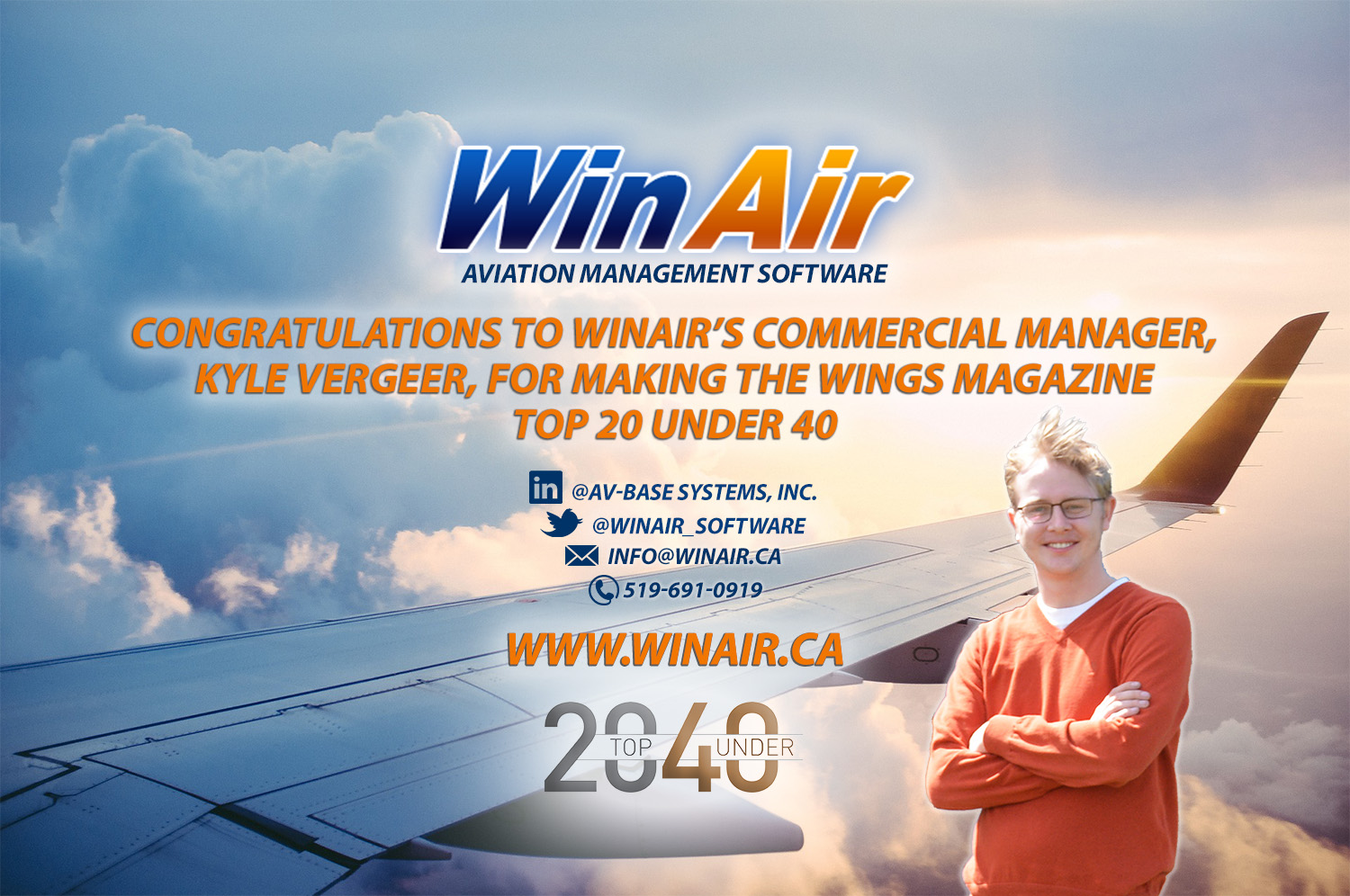 Kyle Vergeer WinAir Commercial Manager Top 20 Under 40 image