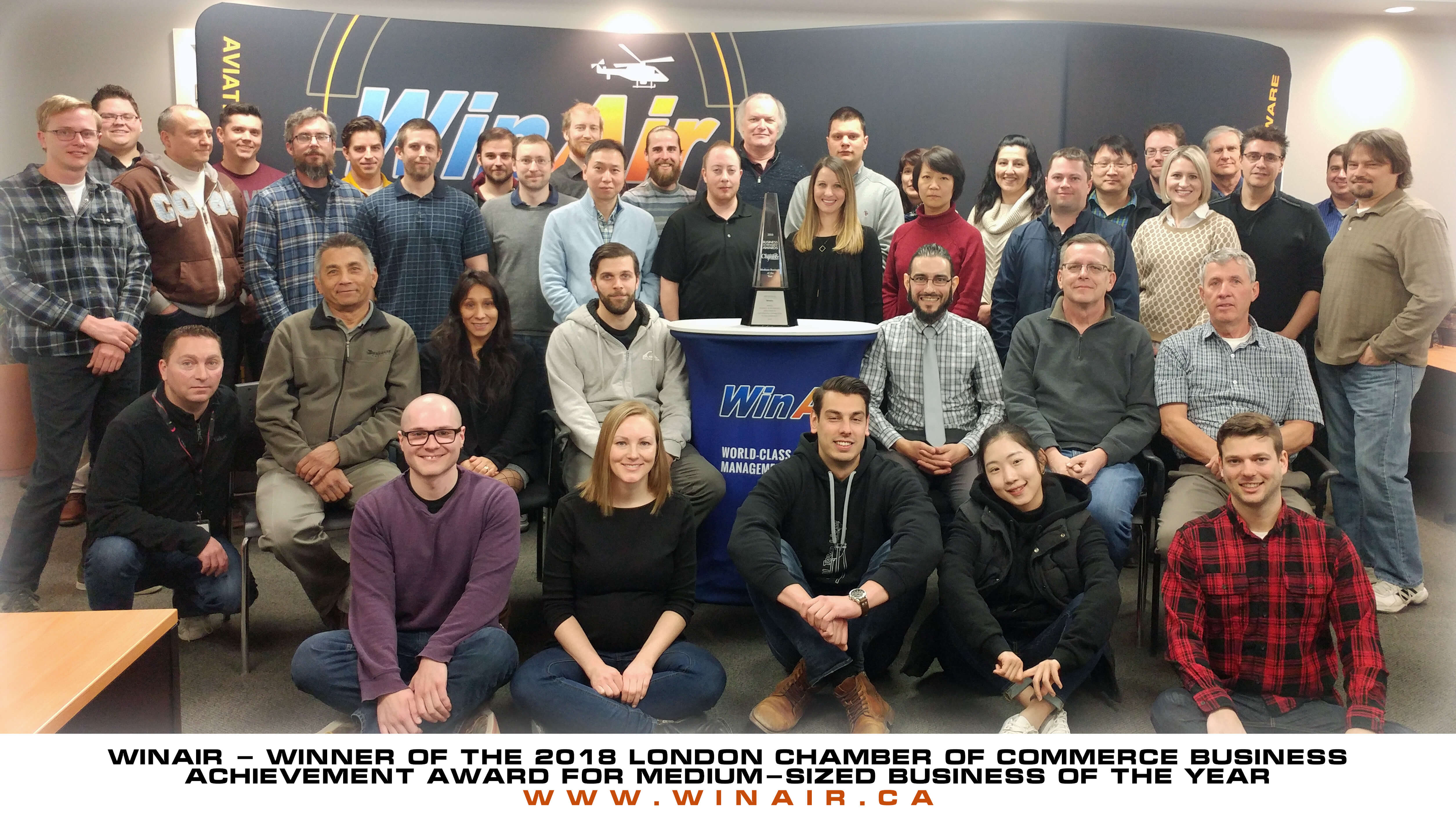 WinAir - Team photo - Winner of the 2018 London Chamber of Commerce Business Achievement Award for medium-sized Business of the Year