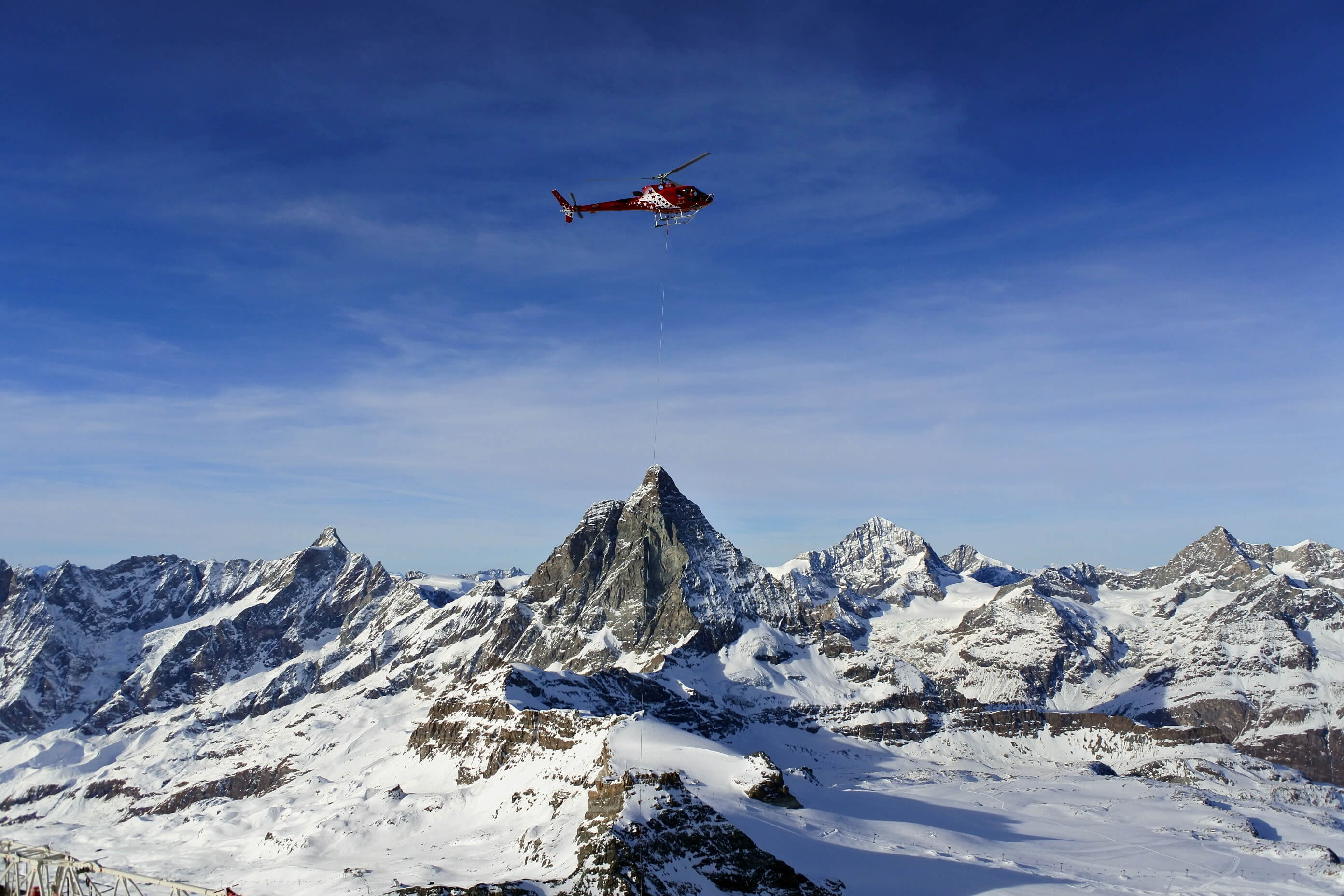 helicopter and mountain image