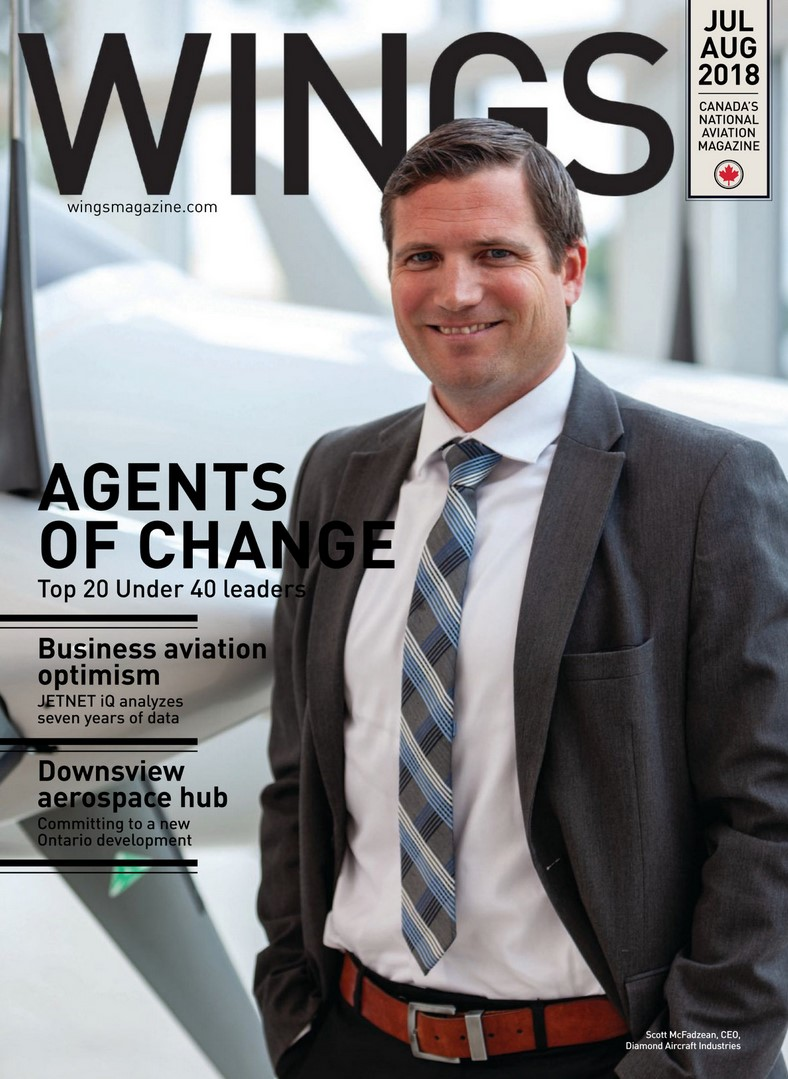 Cover of Wings Magazine's Top 20 Under 40 Issue featuring WinAir Business Development Manager, Jeff Muir - Aviation Management Software