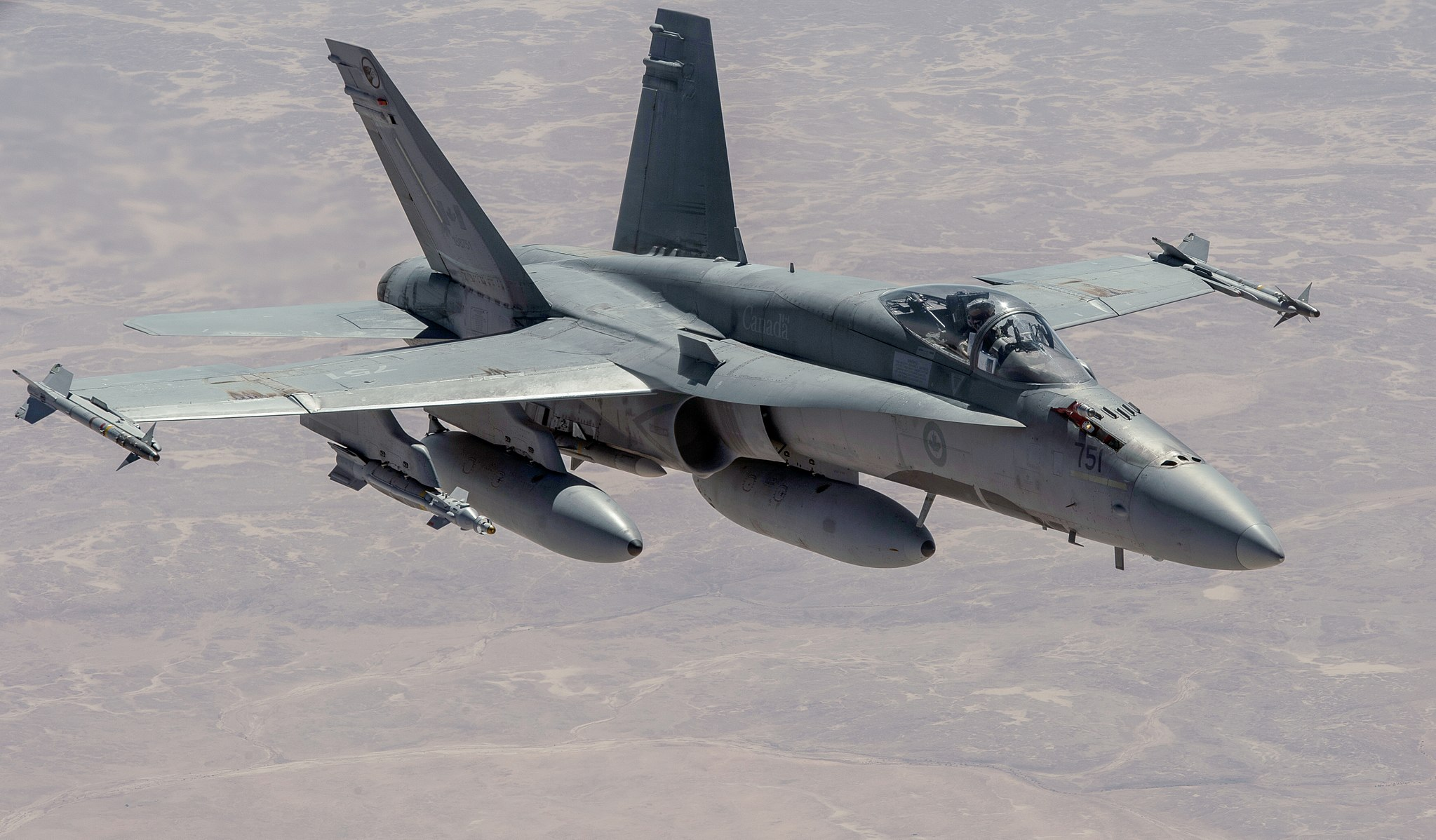 A Royal Canadian Air Force CF-188 Hornet flies over Iraq on March 4, 2015 in support of Operation Inherent Resolve