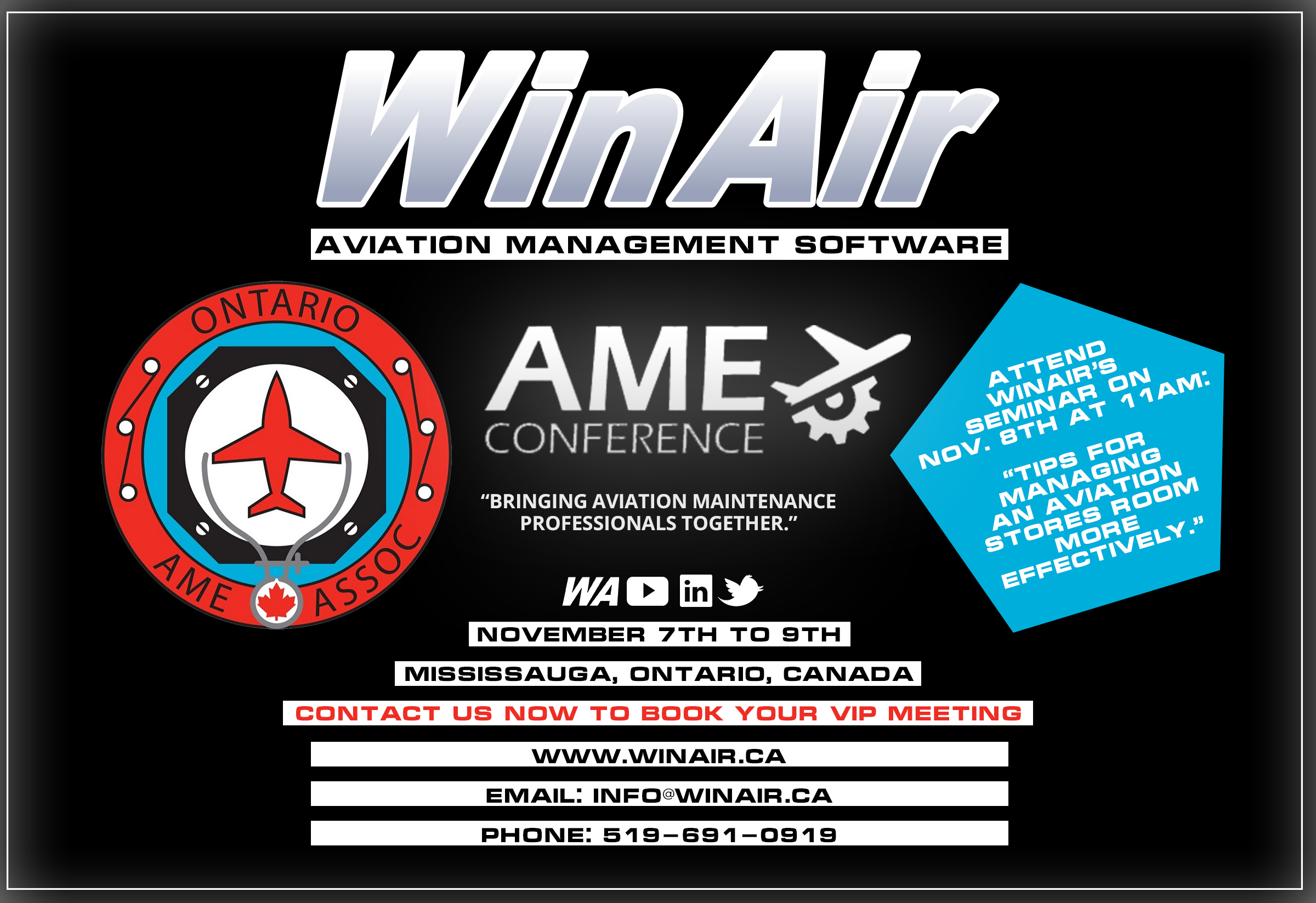 WinAir - Aviation Management Software - Ontario AME Conference - Promotional Image