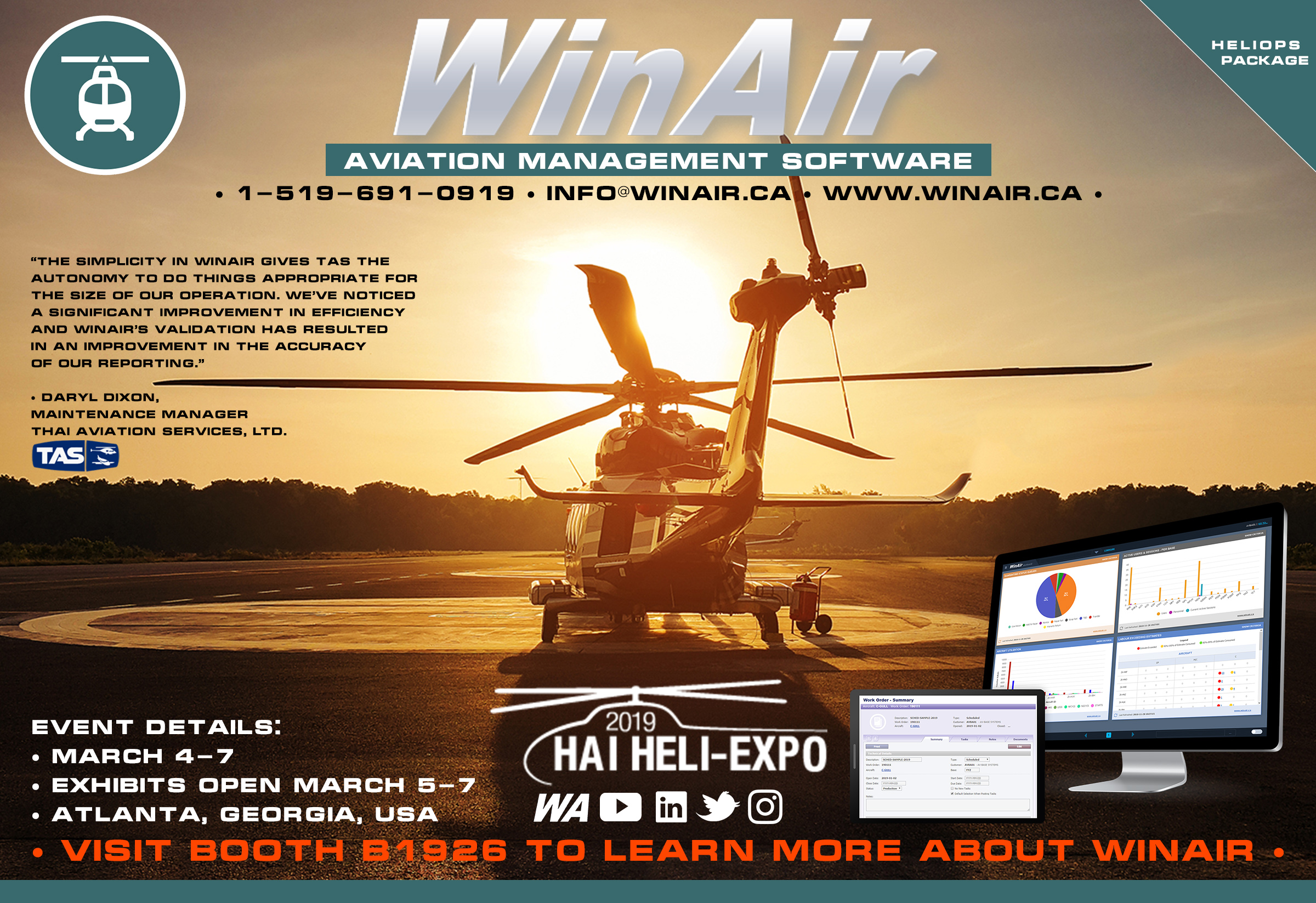 WinAir - Aviation Management Software - HAI HELI-EXPO 2019 - Booth B1926 - with Thai Aviation Services quote