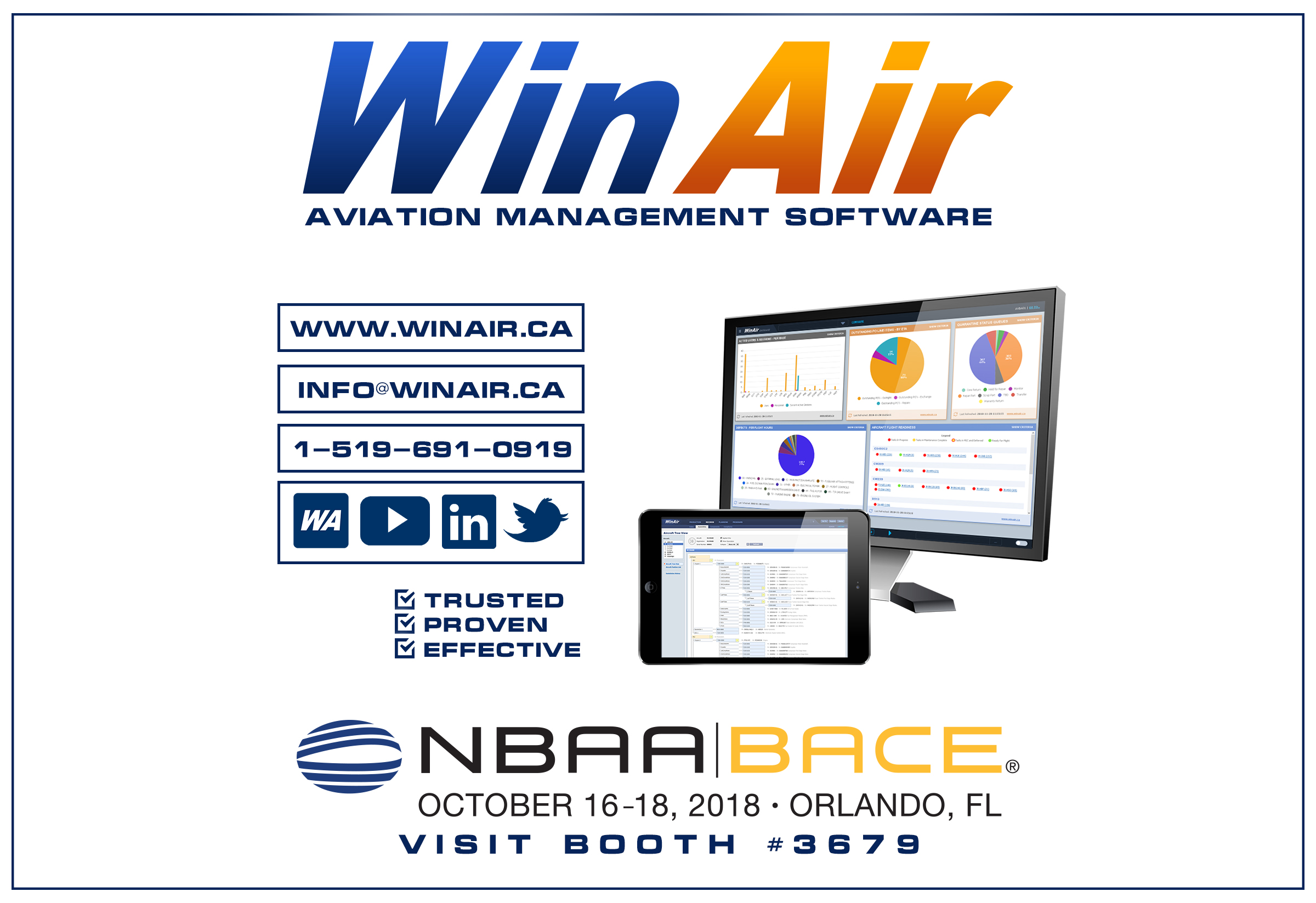 WinAir - Aviation Management Software - NBAA 2018 Promotional Image - Booth 3679