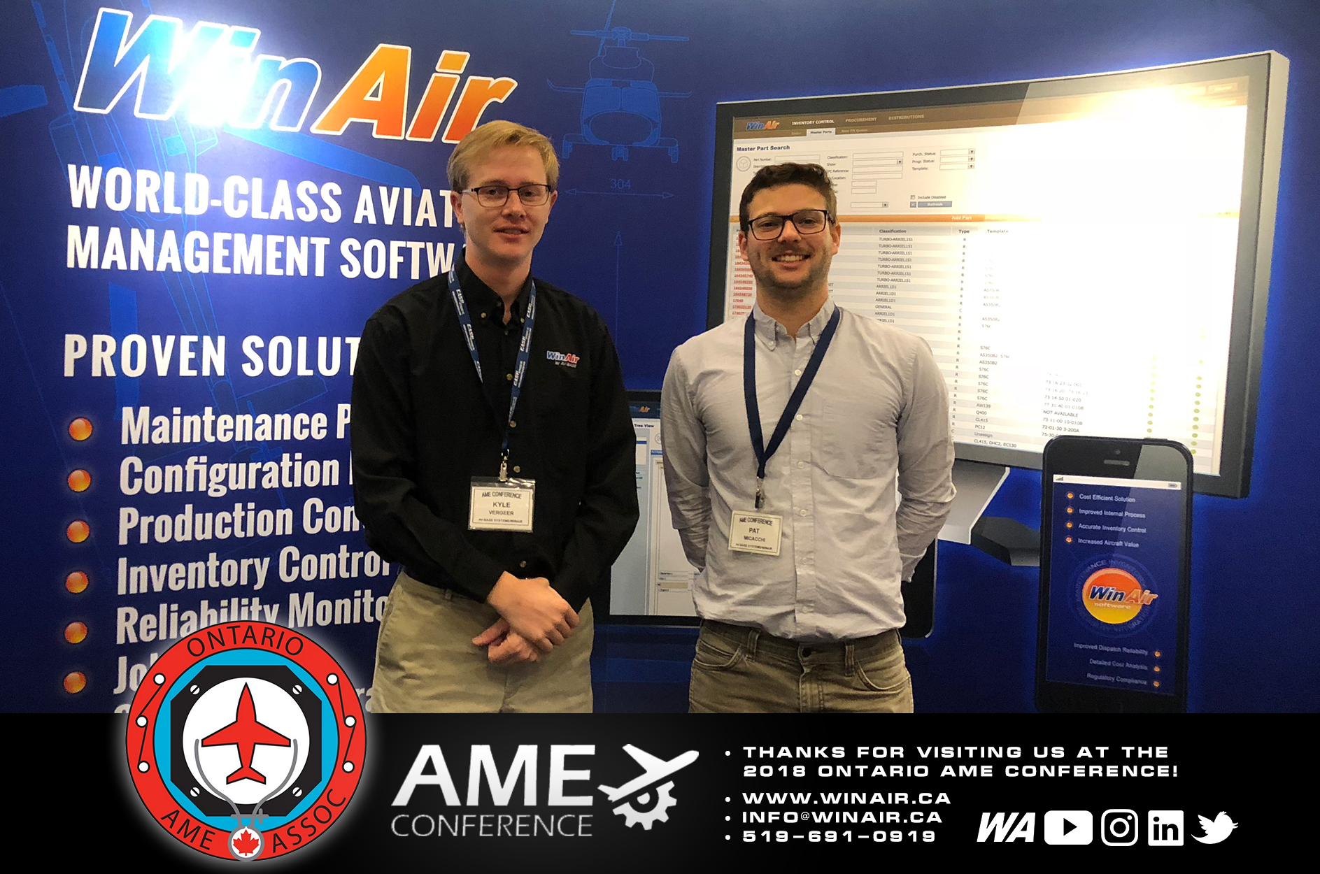 WinAir - Aviation Management Software - Ontario AME Conference - Thanks for Visiting Us - booth image