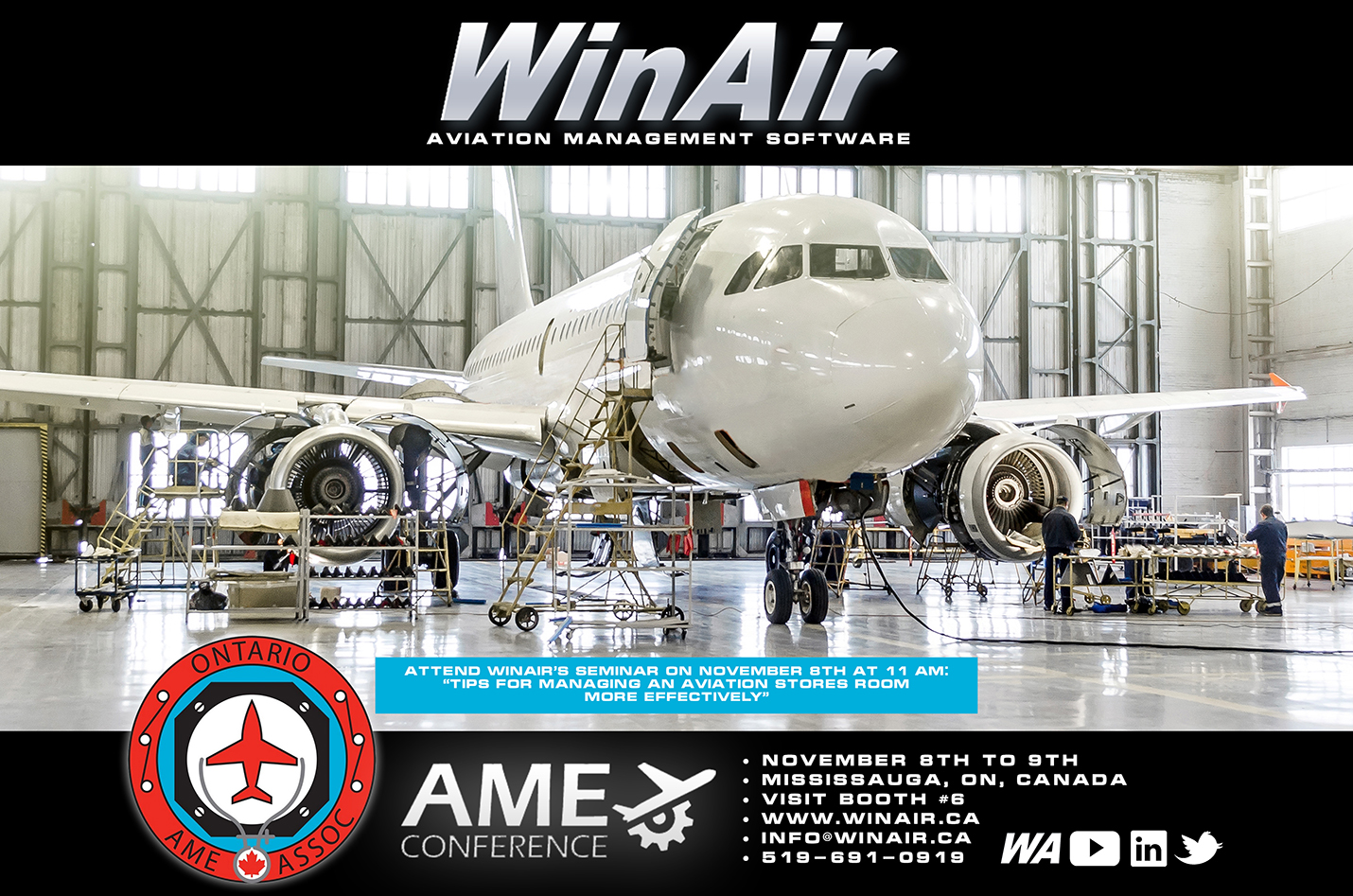 WinAir - Aviation Management Software - Ontario AME Conference - Visit Booth 6 - Promotional Event Image