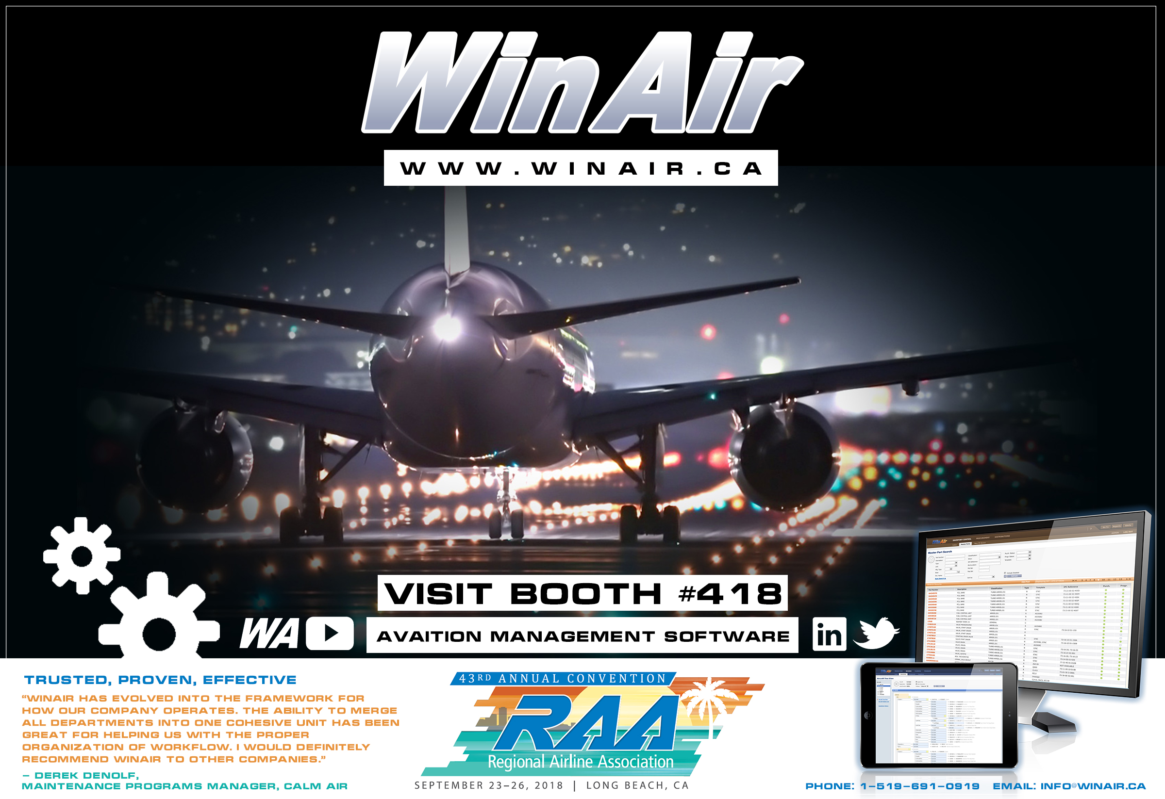 WinAir - Aviation Management Software - RAA Promotional Image - Booth 418