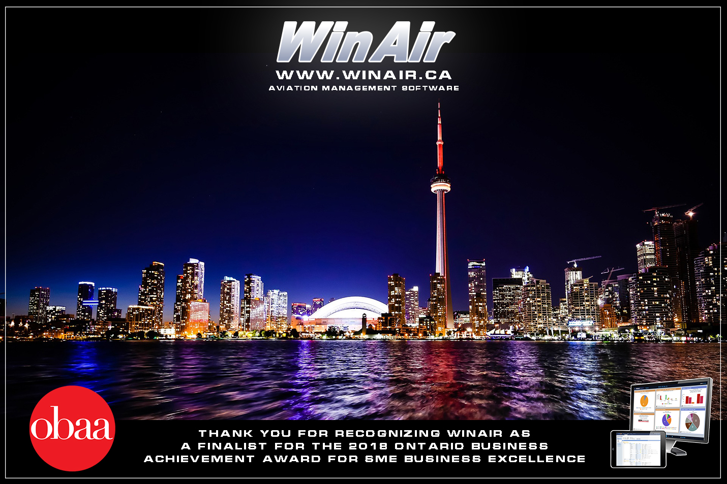 WinAir - Ontario Business Achievement Awards - Thank You Message with image of Toronto skyline