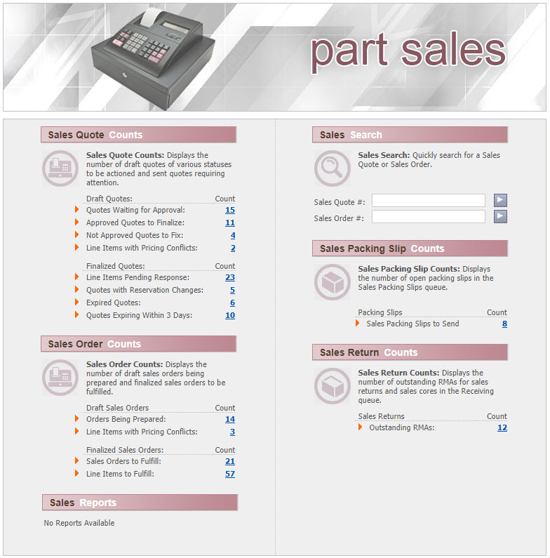WinAir - Part Sales - Main Index Page