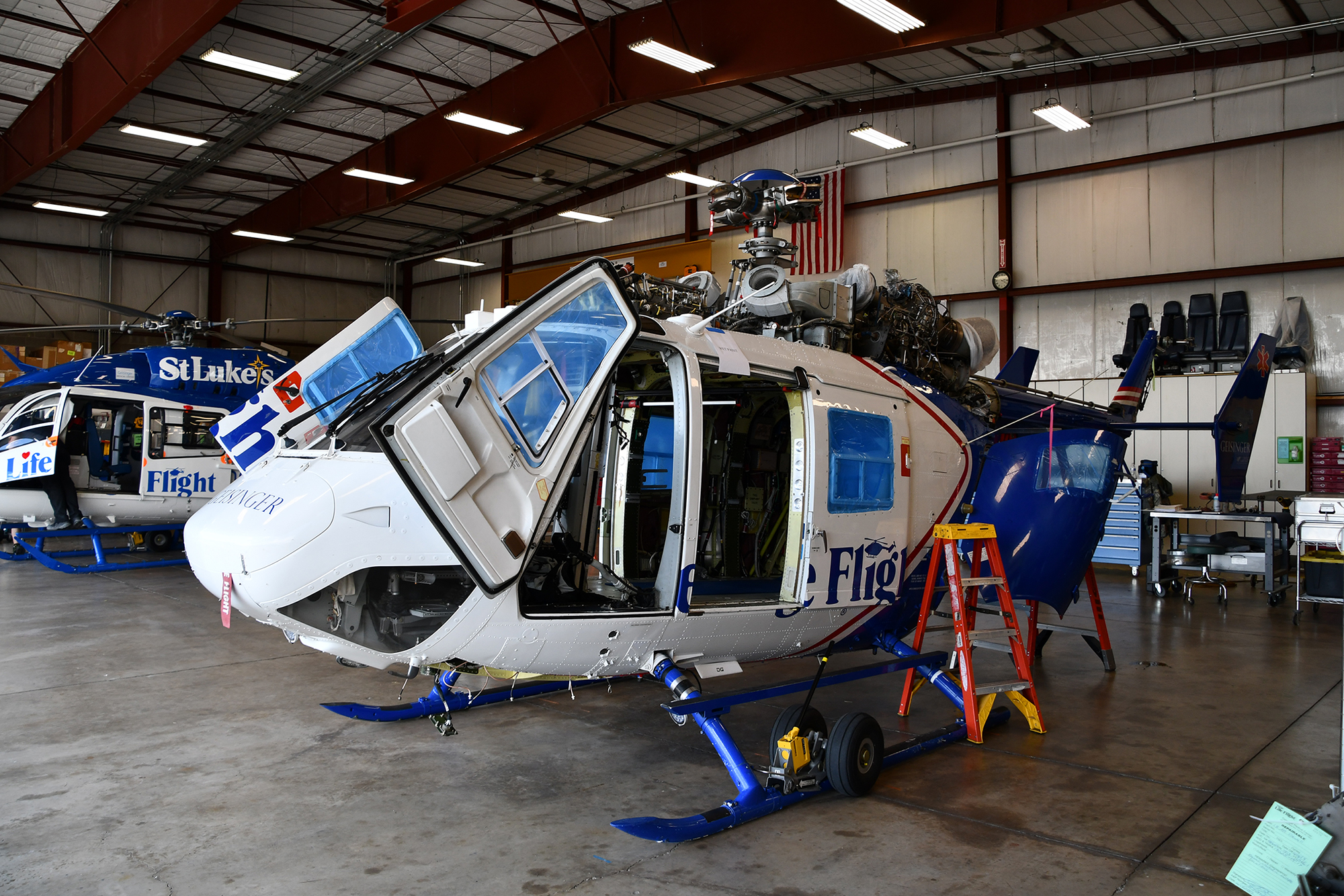 Geisinger Life Flight - BK117 Helicopter Undergoing Maintenance at Life Flight 1 base
