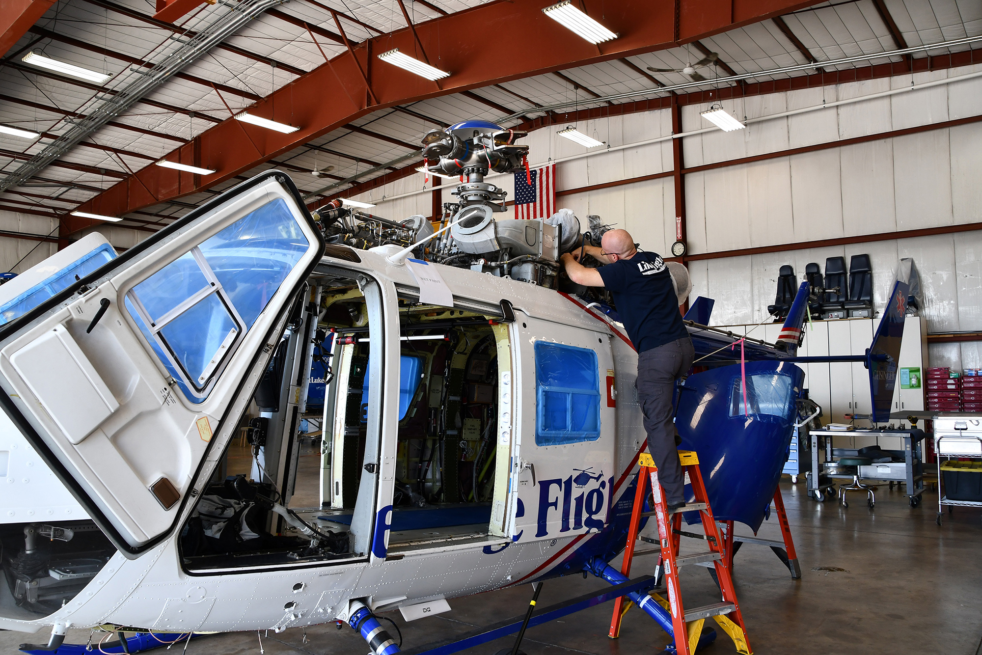 Geisinger Life Flight - Maintenance Technician Performing Maintenance on a BK117 Helicopter