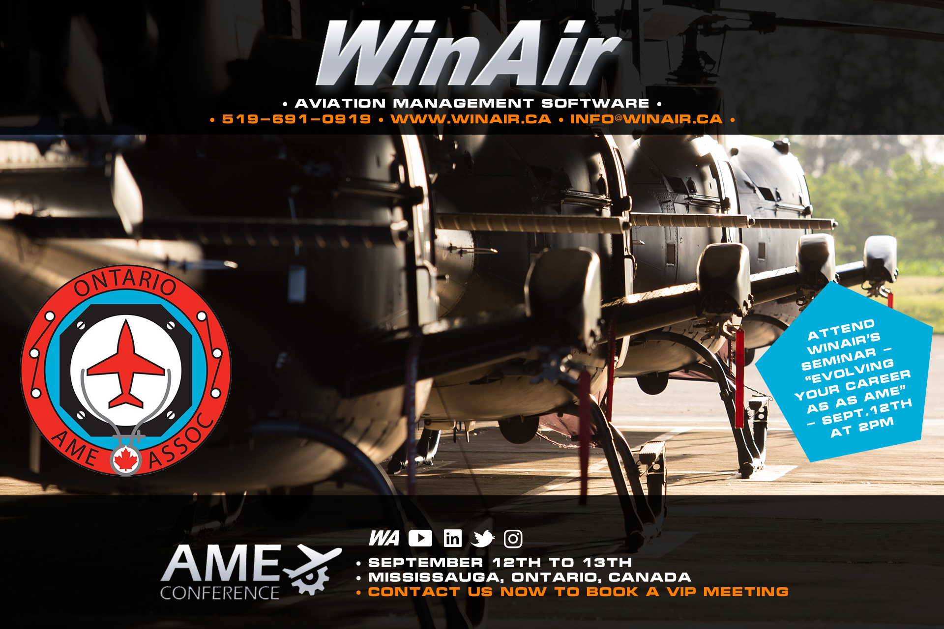 WinAir - 2019 Ontario AME Conference - Evolving Your Career as an AME - Promotional Image in Aircraft Hangar
