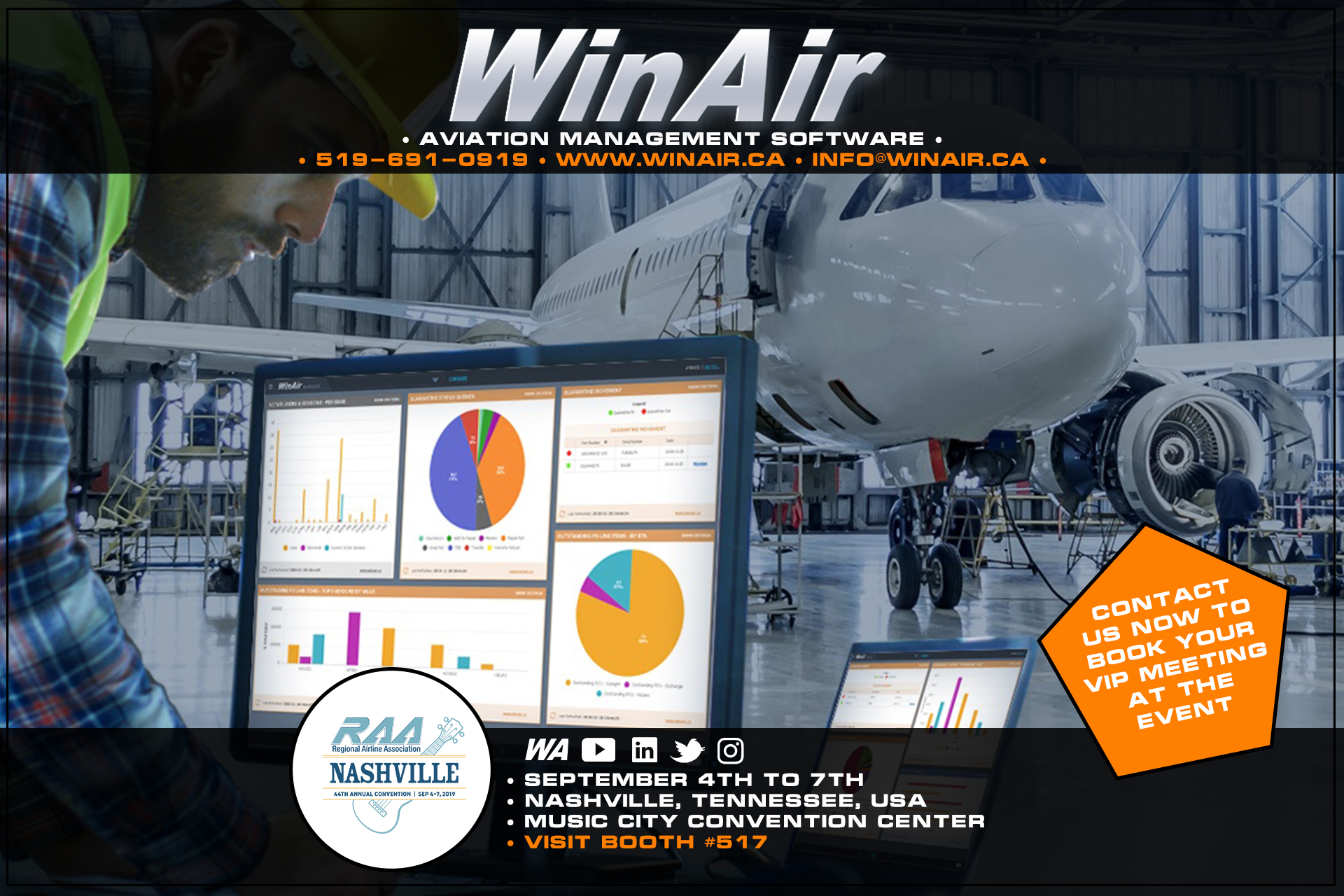 WinAir - 2019 Regional Airline Association 44th Annual RAA Convention - Aviation Management Software - WinAir dashboards displayed in aircraft hangar