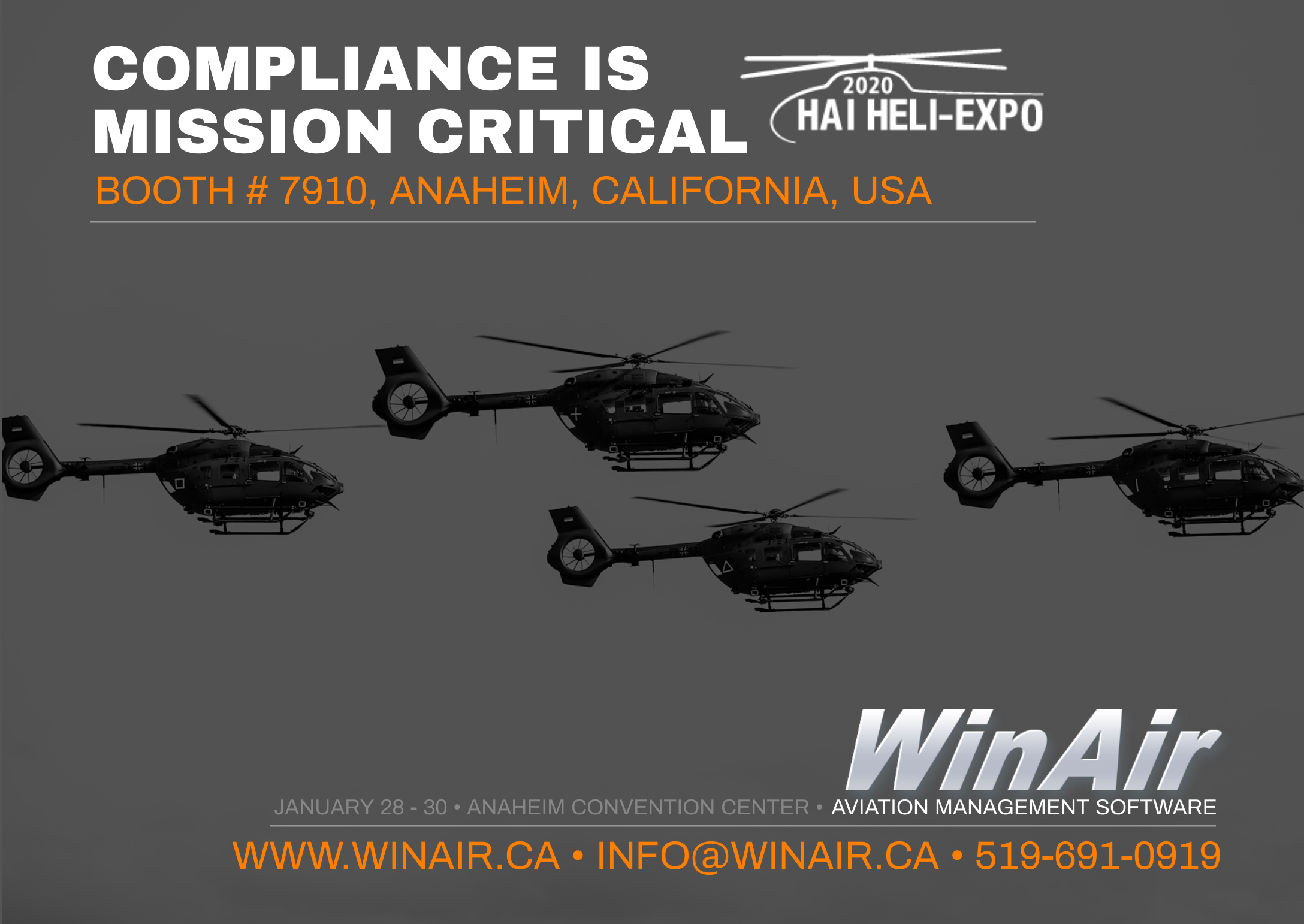 WinAir - HAI Heli-Expo 2020 Promotional Image with helicopters - Booth 7910 - Aviation Management Software - Compliance is Mission Critical
