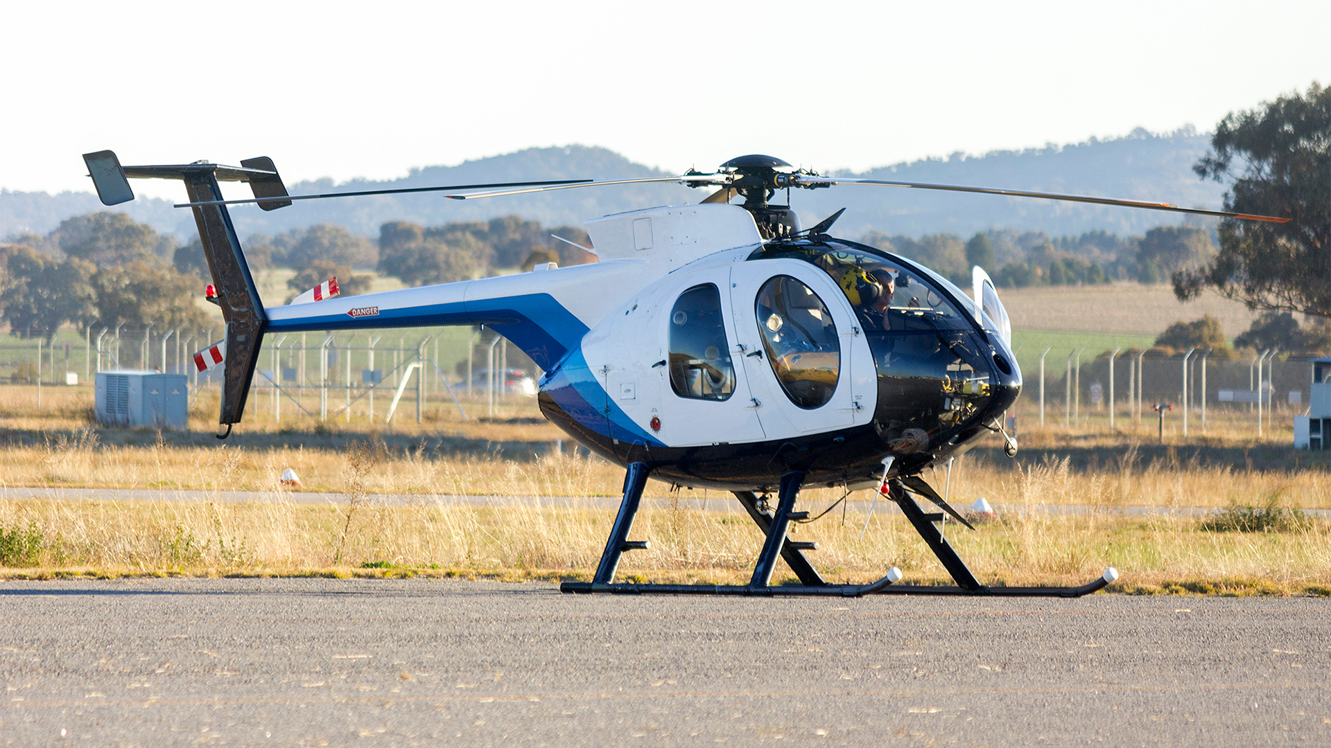 An MD369E helicopter at Wagga Wagga Airport in Forest HIll, Australia