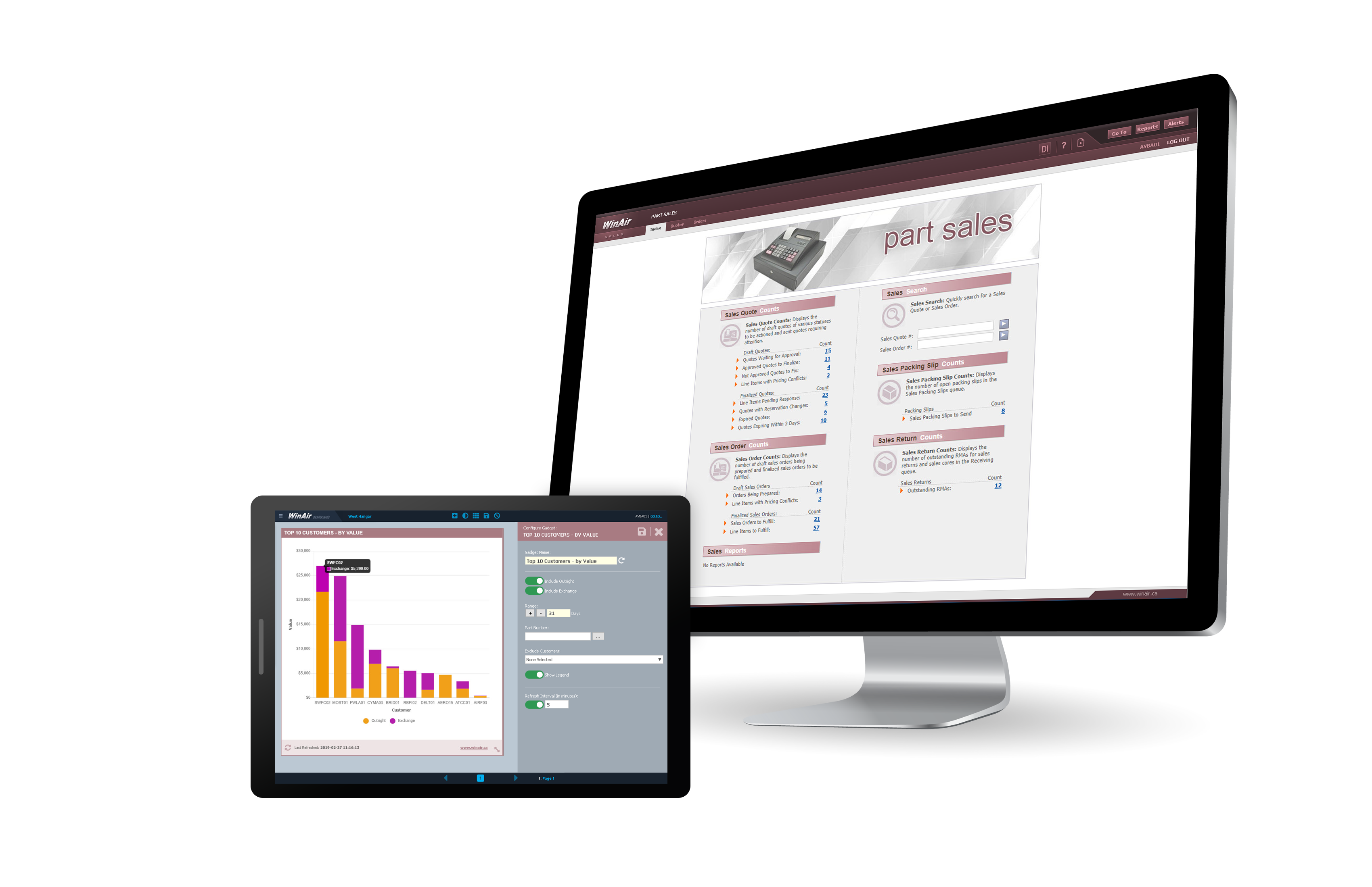 WinAir Part Sales Module for WinAir Version 7 on Desktop and Tablet