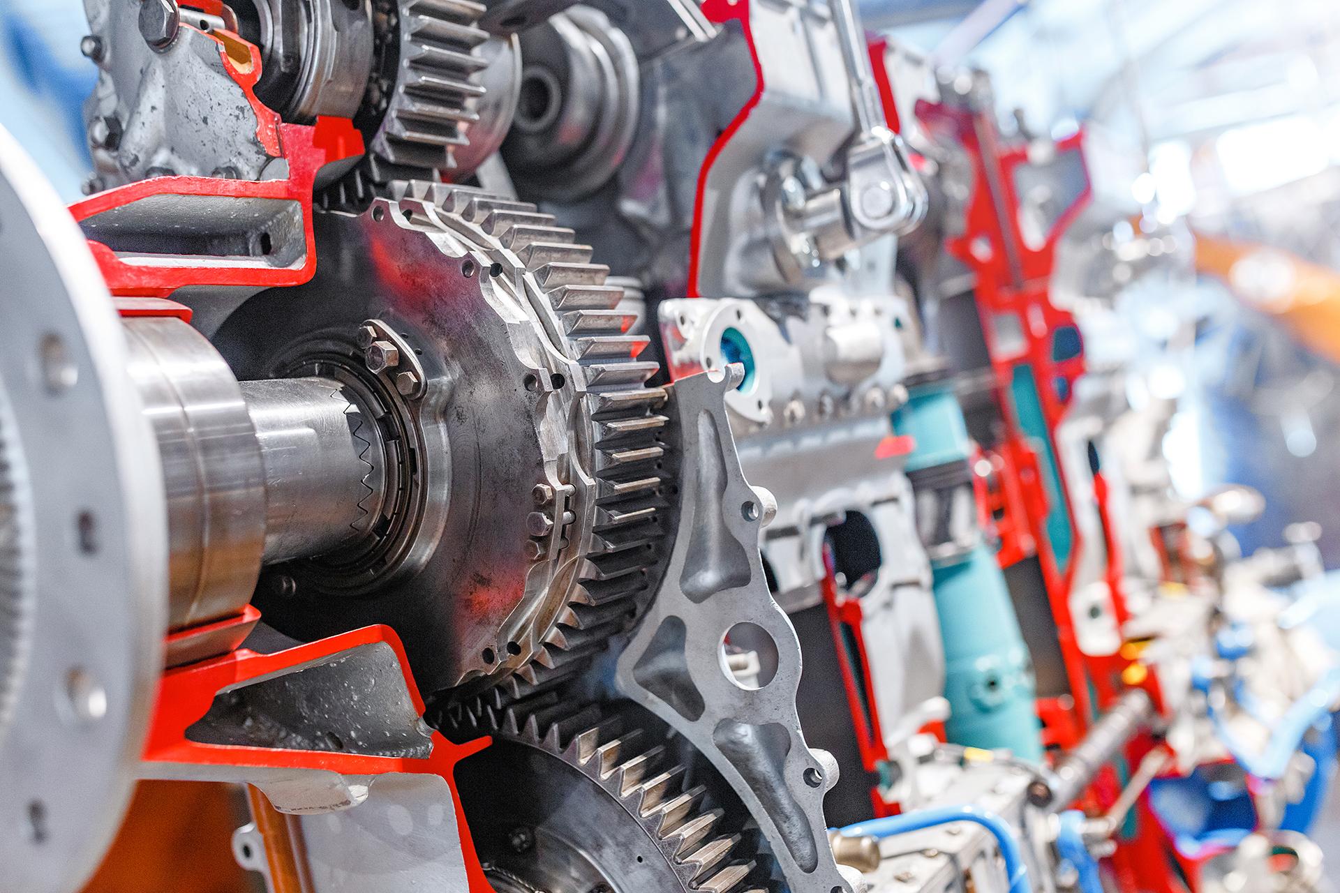 close up view aircraft engine