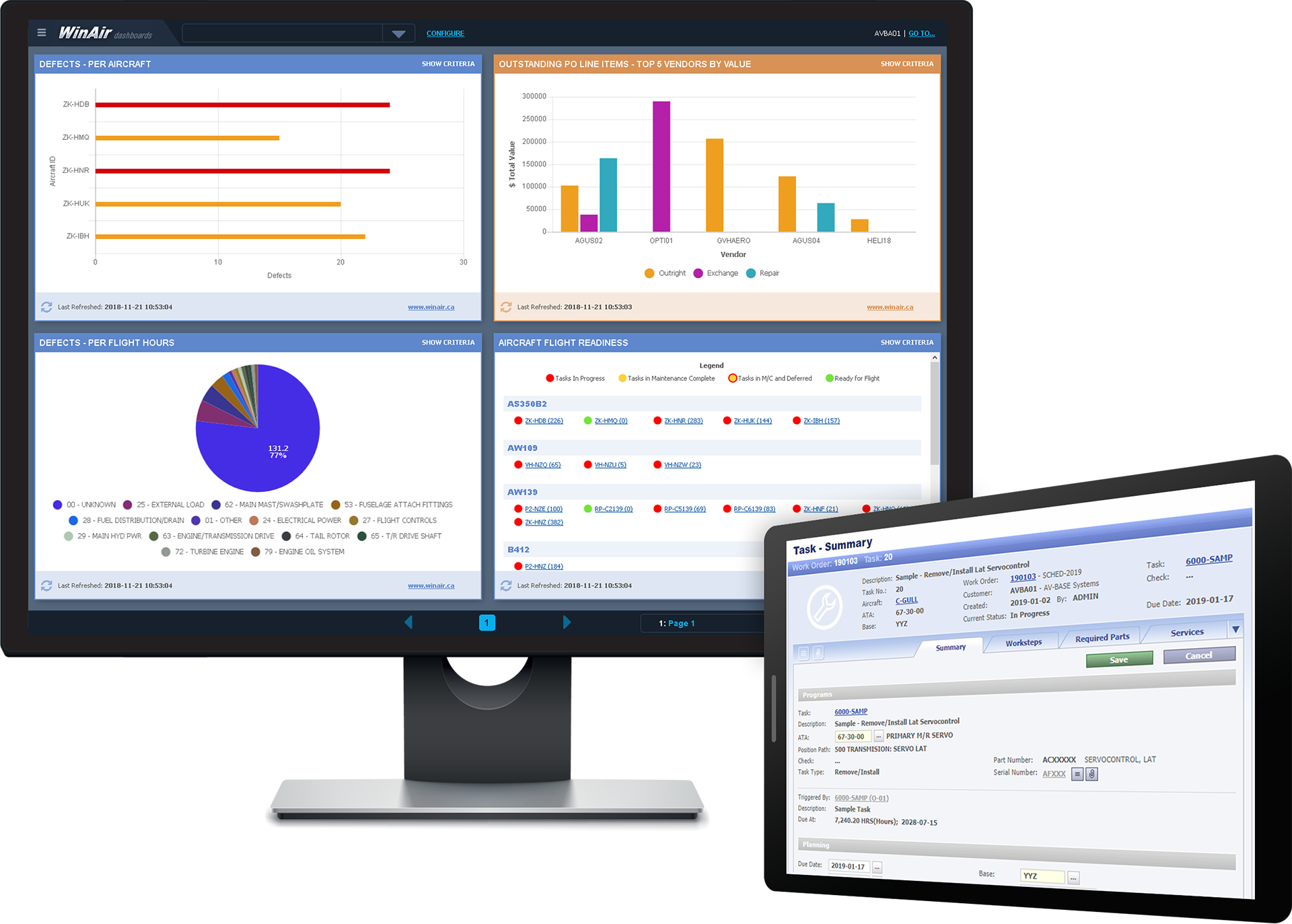 WinAir Dashboards Displayed on Desktop and Task Card Summary displayed on Tablet