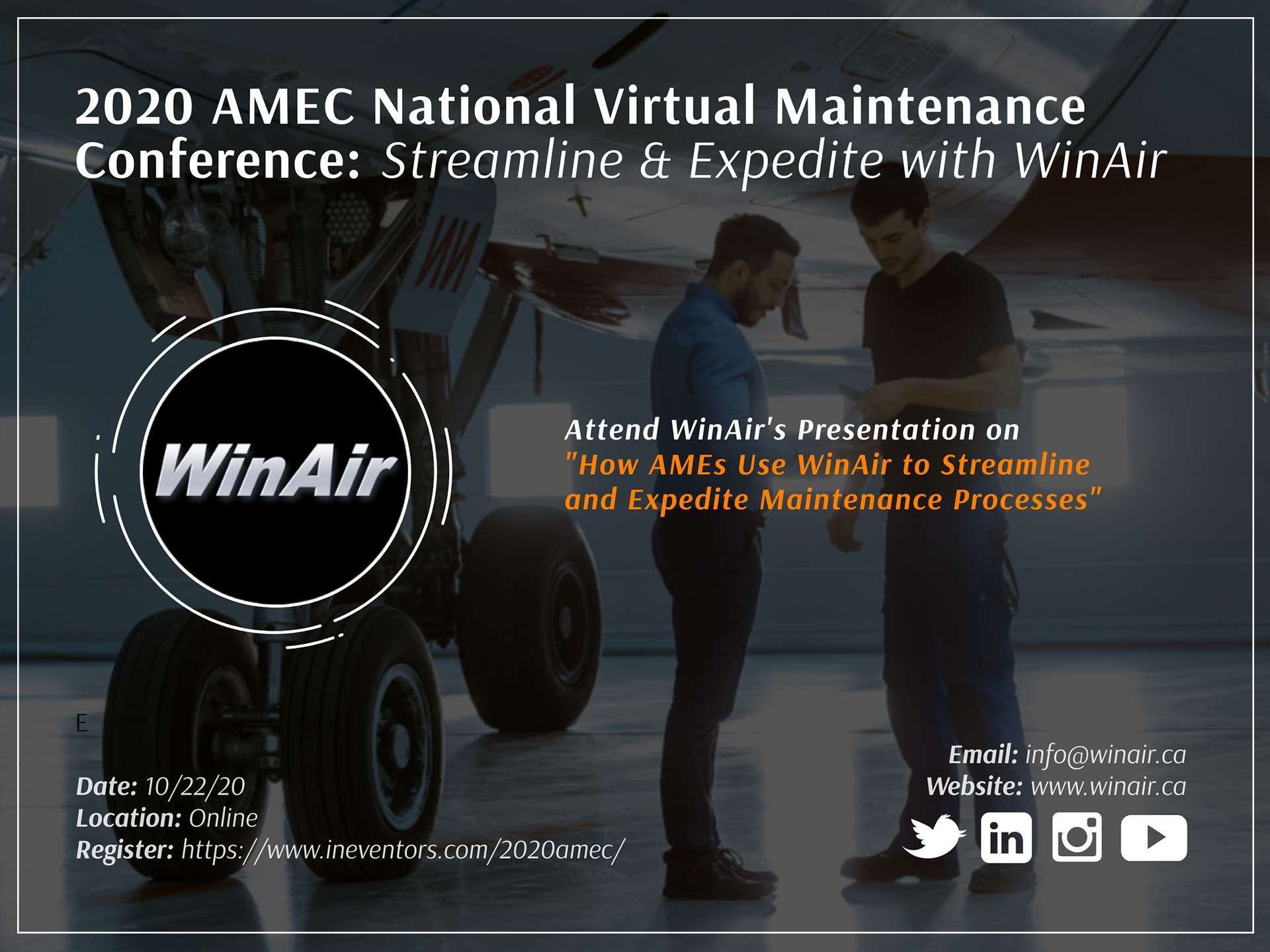 WinAir Signed On for 2020 AMEC Virtual Maintenance Conference - Promotional Image