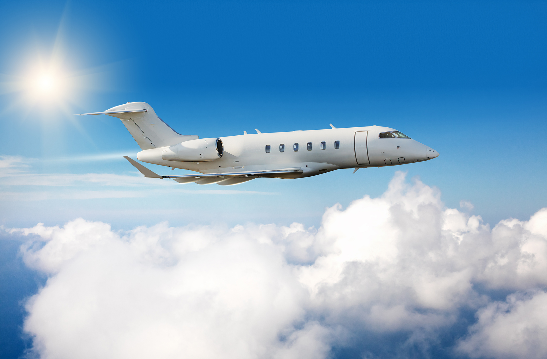 A Business Jet in Mid-Flight