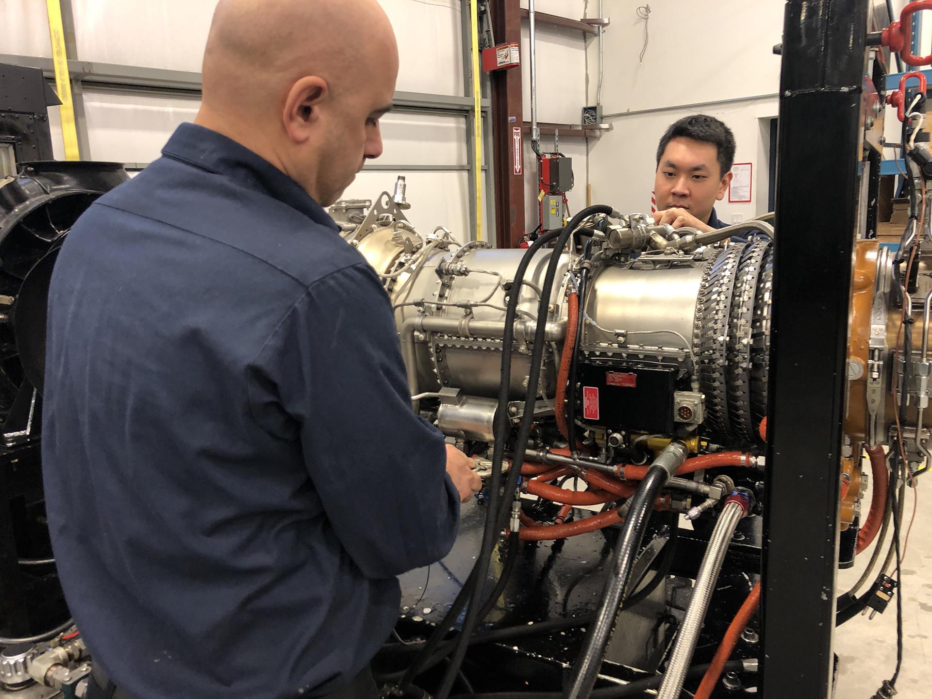 Staff facilitate engine maintenance at Advance Aerospace's maintenance facility